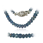 105.00 Cts Faceted Tanzanite Bead Necklace in Sterling Silver