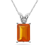 5.00 Cts of 14x10 mm AA Emerald-Cut Fire Opal Solitaire Scroll Pendant in 14K White Gold