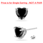 3/4 Cts AA Heart Men's Single Stud Earring in 14K White Gold