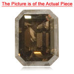 0.40 Cts of 4.5x3.5 mm I2 quality Emerald-Cut Natural Dark Brown Diamond ( 1 pc ) Loose Diamond