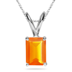 3.05 Cts of 11x9 mm AA Emerald-Cut Fire Opal Solitaire Pendant in Platinum