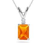 0.03 Cts Diamond & 1.75 Cts of 9x7 mm AA Emerald Radiant Fire Opal Pendant in 18K White Gold