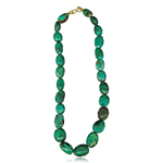 55.00-60.50 Cts Natural Turquoise From Arizona Bead Necklace in 18K Yellow Gold