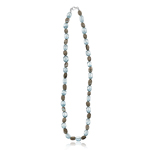 160.00-170.00 Cts Natural Aquamarine & Smokey Quartz Bead Necklace in Silver