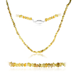 15.00 Cts Untreated Natural Yellow Diamond Organic shaped Beads Strand Necklace in 14K White Gold