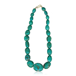 Turquoise Single Strand Bead Necklace in 18K Yellow Gold