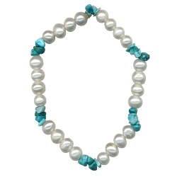 Natural Turquoise & Freshwater Pearl Strechable Bracelet