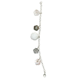 Mother of Pearl in Pink-White-Black Charms Bracelet in Silver