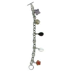 Semi Precious Stones Charm Bracelet in Silver