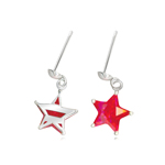Synthetic Ruby Star Earrings in Silver - Christmas Sale