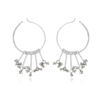 2.00-2.20 Cts Beads Light Gray Rough Diamond Circle Earrings in Silver