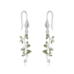 1.20 Cts Beads Light Green Rough Diamond Dangle Earrings in Silver