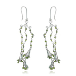 1.90 Cts Beads Light Green Rough Diamond Dangle Earrings in Silver