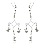 3.00-3.45 Cts Beads Light Green Rough Diamond Dangle Earrings in Silver