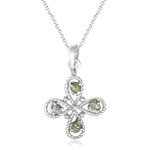 1.02 Cts Light Grey & Light Yellow Rough Diamond Pendant in Silver
