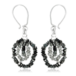 12.70 Cts Black & White Rough Diamond Dangle Earrings in Silver