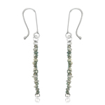 6.00 Cts Beads White & Light Grey Rough Diamond Dangle Earrings in Silver