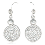 Textured Spiral Dangle Earrings in Sterling Silver