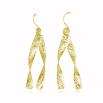 Double Ribbon Drop Dangle Earrings in Sterling Silver with Yellow Rhodium