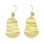 Textured Dangle Earrings in Sterling Silver with Yellow Rhodium