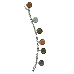 Multi Color Semi Precious Disc Shape Stones Charm Bracelet in Silver