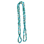 Natural Arizona Turquoise & Silver Carved Bead Necklace in Silver