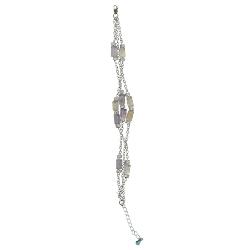Amethyst, Citrine & Carnelian Cylindrical Bead Bracelet in Silver
