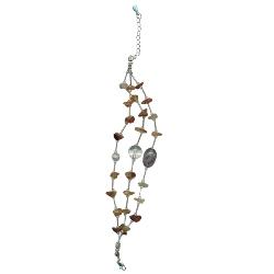 Carnelian, White Crystal Quartz & Amethyst Bracelet in Silver