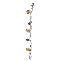 Carnelian Round Bead & Heart Bracelet in Silver
