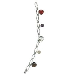 Carnelian, Amethyst, Crystal Quartz, Citrine, Smokey Quartz Round Bead & Heart Bracelet in Silver