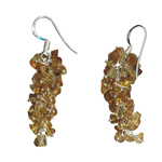 Citrine Bead Dangle Tumble Earrings in Silver
