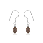 Smokey Quartz Briolette Earrings in Silver