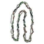 Multi Color Tourmaline & White Crystal Quartz Double Stranded Endless Tumble Chips Bead Necklace