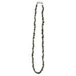 Chrome Di Opside Chips Bead Necklace in Silver