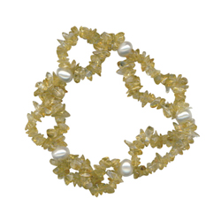 Citrine & Freshwater Cultured Pearl Double Strand Tumbled Chips Bead Bracelet