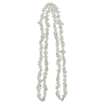 230.00 Cts Aquamarine & White Crystal Quartz Endless Tumble Chips Bead Necklace
