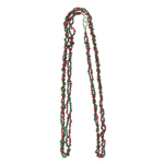 90.00 Cts Natural Emerald & Ruby Spinel Double Stranded Chips Bead Necklace in Silver