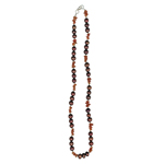 Carnelian Chip Beads & Maroon  Freshwater Cultured Pearl Necklace in Silver