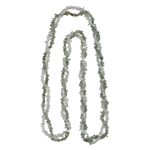 Smokey Quartz & White Crystal Quartz Double Stranded Endless Tumble Chips Bead Necklace in Silver