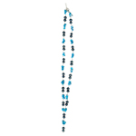 Natural Turquoise Chips Bead & Peacock Blue Freshwater Cultured Pearl Necklace in Silver