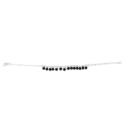 Black Onyx Bead Bracelet in Silver