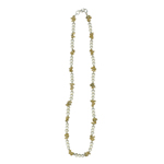 Citrine Chips Bead &  Freshwater Cultured Pearl Necklace in Silver