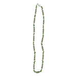 Peridot Chips Bead & Peacock Green Freshwater Cultured Pearl Necklace in Silver