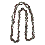 Garnet & Smokey Quartz Double Stranded Endless Tumble Chips Bead Necklace in Silver