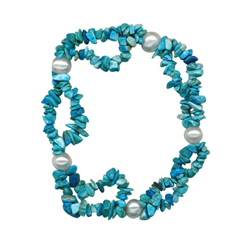 50.00 Cts Double Strand Tumble Natural Turquoise and  Freshwater Cultured Pearl Bracelet