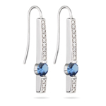 0.24 Cts Diamond & 0.80 Cts Tanzanite Earrings in 14K White Gold