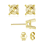 8 mm Light Weight Four Prong Round Earring Settings ( Pair ) with Push Backs in 18K Yellow Gold - Christmas Sale