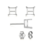 7.5 mm Light Weight Four Prong Square Earring Settings ( Pair ) with Push Backs in 14K White Gold