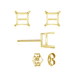 6.5 mm Light Weight Four Prong Square Earring Settings ( Pair ) with Push Backs in 14K Yellow Gold