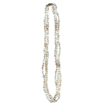 Three Strand Natural  Pink and White Freshwater Cultured Pearl Necklace in 14K Yellow Gold